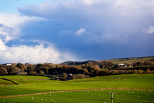 Rain Clouds, Sunshine And Winter Trees, West Yorkshire, England, UK.