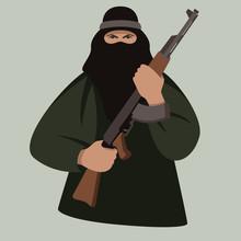 Terrorist With Gun ,vector Ill...