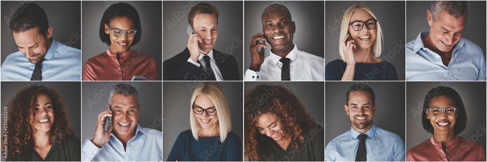 Fototapety, obrazy: Smiling group of diverse businesspeople using cellphones