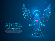 Christmas Angel With Red Heart Holding Stars. Polygonal Low Poly With Connecting Dots And Lines. Holiday Wireframe Concept. Connection Structure. Vector Illustration