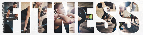 Obraz Collage of a fit young woman weightlifting at the gym - fototapety do salonu
