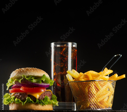 Cuadros en Lienzo Burger with French fries cutlet with cheese and tomato