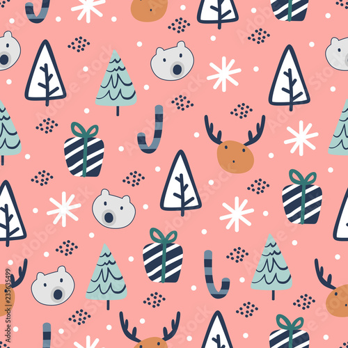 Colorful Christmas Background For Kids.Trendy Colorful Christmas Seamless Pattern Childish Drawing