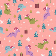 Vector Cute Dino Seamless Patt...
