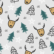 Funny Reindeer And Tree Seamless Pattern Vector