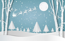 Merry Christmas,Santa Claus Driving In A Sledge,Snow Forest. Pines In Winter And Mountain Paper Vector Illustration