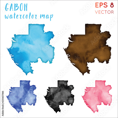 Fotografie, Obraz  Gabon watercolor country map