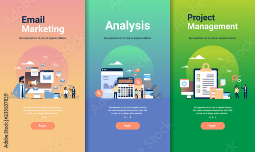 Fotografie, Obraz  web design template set for email marketing analysis and project management conc