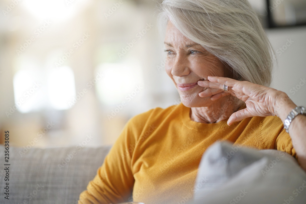 Fototapety, obrazy:   Beautiful senior woman relaxing at home