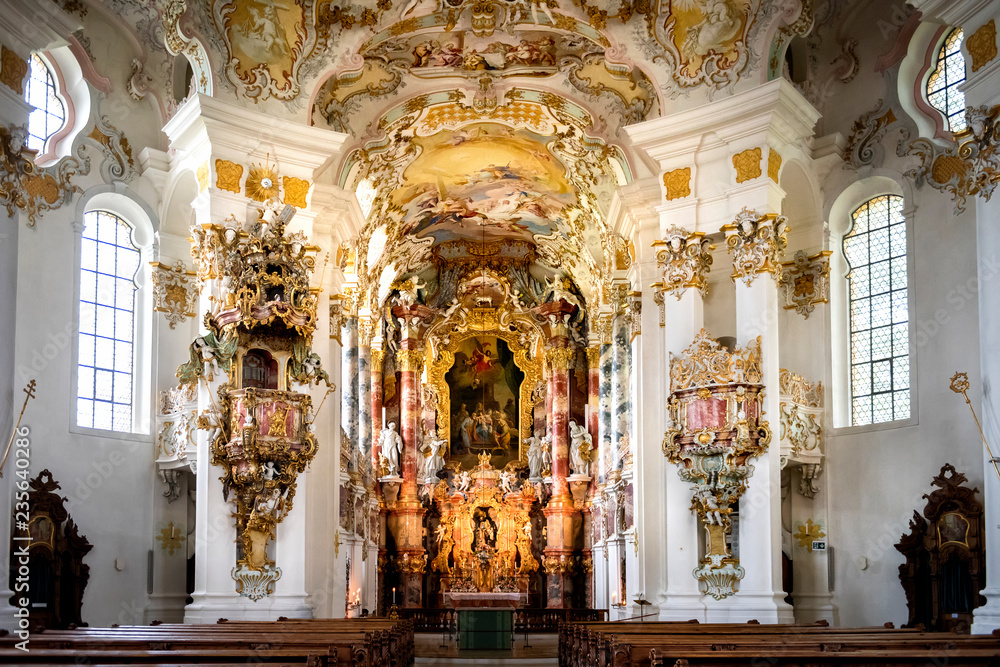 Fototapeta Pilgrimage Church of Wies, interior of the church - Wieskirche at Steingaden on the romantic road in Bavaria, Germany