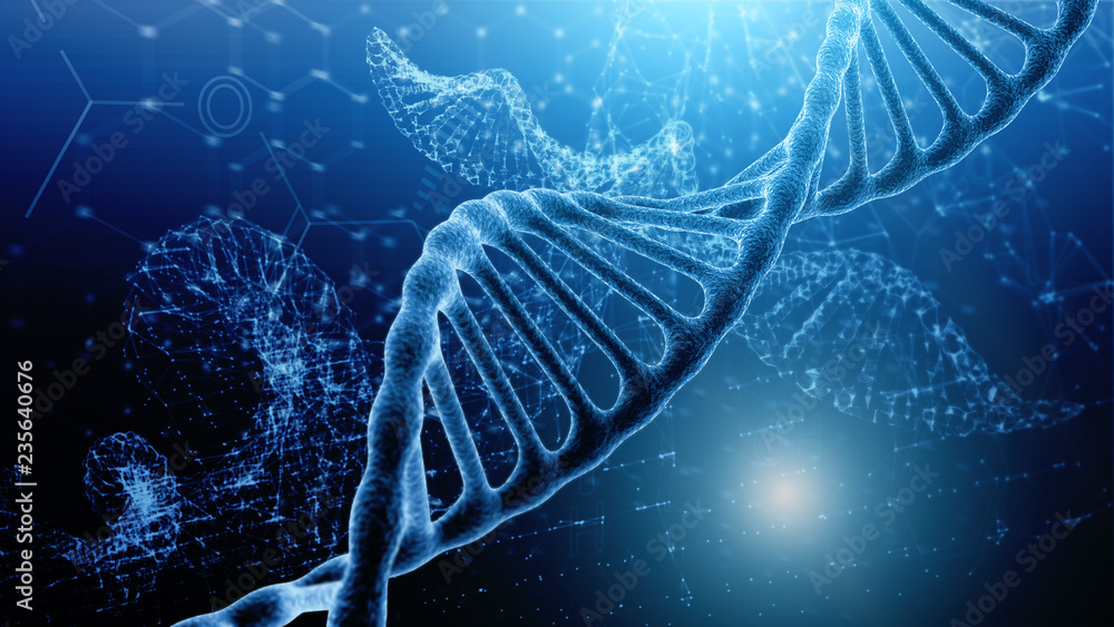 Fototapeta Blue and red particles dna helix glowing over dark blue background. Concept of genetics, science and medicine. Biotech. 3d rendering copy space toned image