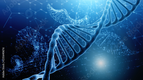 Fotografia  Blue and red particles dna helix glowing over dark blue background