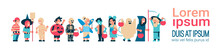 Cute Kids Wear Monsters Costume Happy Halloween Concept Party Celebration Isolated Horizontal Banner Copy Space Flat