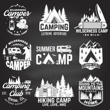 Summer Camp. Vector Illustration. Concept For Shirt Or Patch, Print, Stamp. Vintage Typography Design With Rv Trailer, Camping Tent, Campfire, Bear, Man With Guitar And Forest Silhouette.