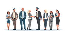 Business People Group Hand Shake Agreement Communicating Concept Businessmen Women Team Leader Meeting Male Female Cartoon Character Isolated Full Length Horizontal Banner Flat
