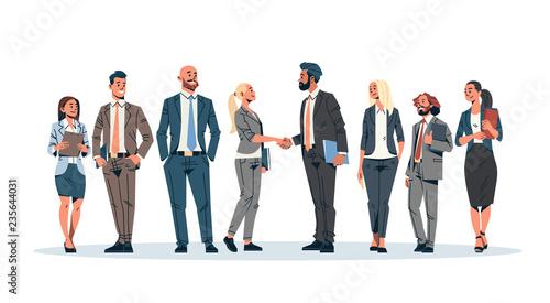business people group hand shake agreement communicating concept businessmen wom Billede på lærred