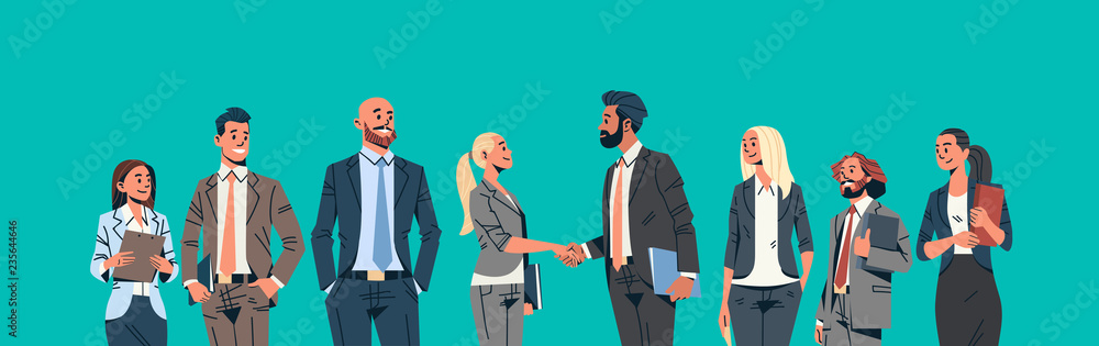 Fototapeta business people group hand shake agreement communicating concept businessmen women team leader meeting male female cartoon character portrait horizontal banner flat