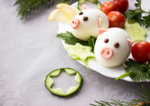 Christmas Cookies And Decorations On Wooden Table Pigs Made From Eggs And Tires Jn The Christmas Tablefree Space For Text - Holidays, Winter, Celebration,  Christmas And  New Year Concept