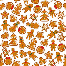 Christmas Seamless Pattern With Gingerbreads On White Background