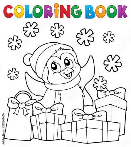 Wall Murals For Kids Coloring book Christmas penguin topic 2