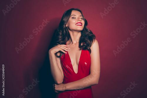 Good-looking elegant fancy gorgeous graceful lady with modern ha