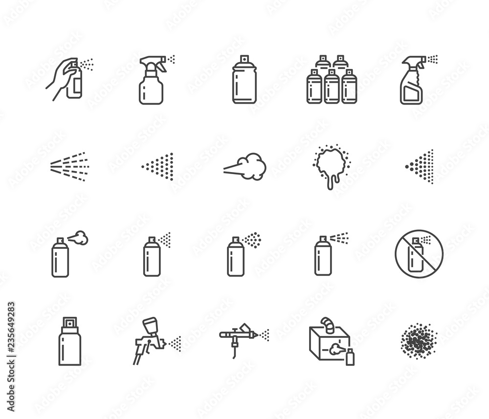 Fototapety, obrazy: Spray can flat line icons set. Hand with aerosol, airbrush, powder coating, graffiti art, cough effect vector illustrations. Thin signs for disinfection, cleaning. Pixel perfect 64x64. Editable Stroke