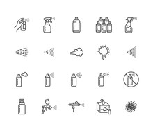 Spray Can Flat Line Icons Set....
