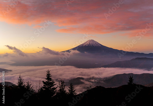 Aerial View Of Mountain Fuji With Morning Mist Or Fog At