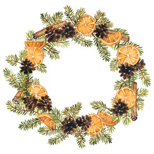 Watercolor Wreath Of Spruce With Pine Cones, Slices Of Orange And Cinnamon. Christmas Decoration