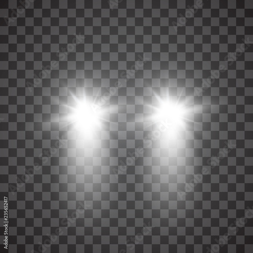 Obraz Cars flares light effect. Realistic white glow round car headlight beams isolated on transparent gloom background. Vector bright train lights for your design. - fototapety do salonu