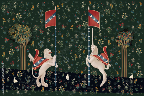 Vászonkép Hand drawn fantasy poster with unicorn and lion in medieval tapestries style