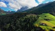 Bird's-eye view of the valley among the mountains in the province of Bolzano, Dolomites. Autumn in Italy