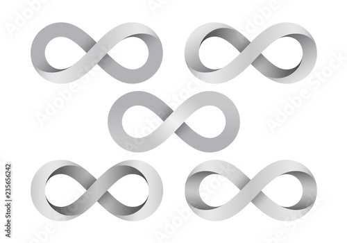 Carta da parati Set of Infinity signs made of different types of torsion