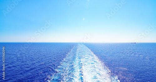 Estela de un barco en el Mar Jónico, Grecia, Europa Canvas Print