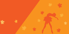 Autumn Background With Leaves And Ballerina. Vector Illustration.