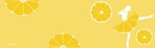 Lemon Fruit Background With Ballerina. Summer Banner. Vector Illustration.