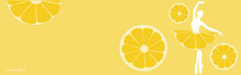 Lemon Fruit Background With Ballerina. Summer Banner. Vector Illustration.