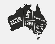 Australia Poster Map With States Names. Australian Background. Map Of Australia.  Print For T-shirt, Typography. Vector Illustration