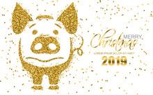 Golden Glitter Pig Symbol Chri...