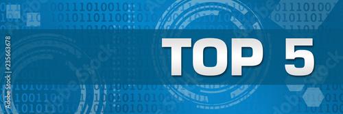 Photo Top Five Blue Technology Binary Background