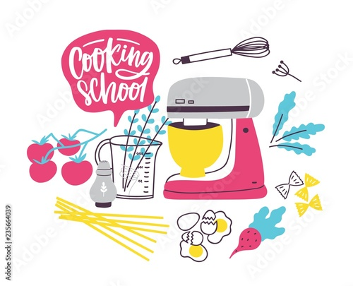 Banner Template With Cookware Or Kitchen Utensils For Food Preparation Colorful Vector Illustration In Modern Flat Style For Cooking School Culinary Classes Or Lessons Advertisement Promotion Buy This Stock Vector And