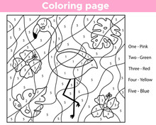 Number Coloring Page For Preschool Kids. Learning English Colors. Cute Cartoon Flamingo With Tropical Plants And Flowers. Educational Worksheet. Vector Illustration.