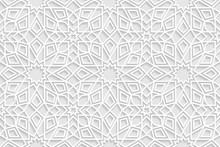 Vector White Islamic Horizontal Background. Seamless Oriental Volumetric Pattern With Shadow.