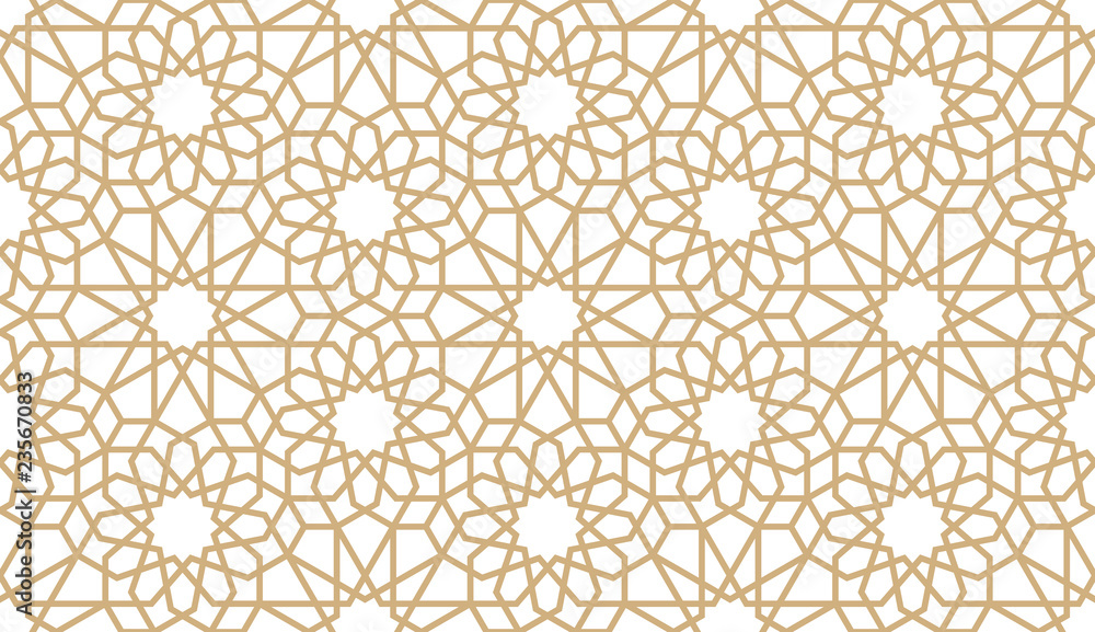 Fototapety, obrazy: Seamless gold oriental pattern. Islamic horizontal background. Arabic linear texture. Vector illustration.