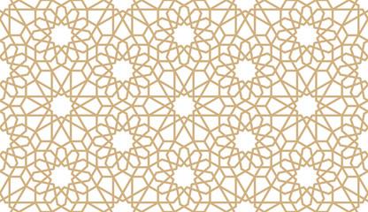 Seamless gold oriental pattern. Islamic horizontal background. Arabic linear texture. Vector illustration.