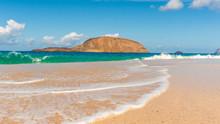 High Tide Coming In On A Pristine White Sand Beach. Playa De La Conchas On La Graciosa Island, Canary, Spain.