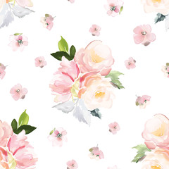 Fototapeta Na meble Vector seamless pattern with flower and plants in watercolor style.