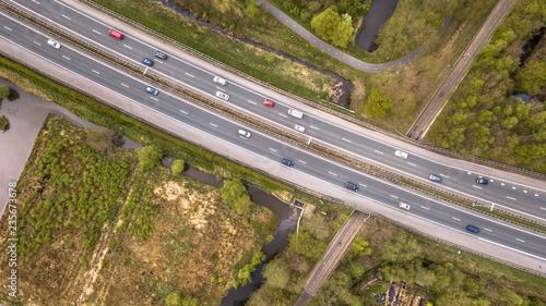 Aerial view of four lane motorway Canvas Print