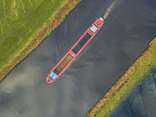 Top View Of Inland Cargo Ship