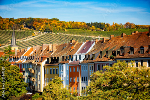 Foto auf Leinwand Violett rot Wurzburg, view of the city and the vineyards. Authentic beautiful towns of Germany. Northen Bavaria, Germany.